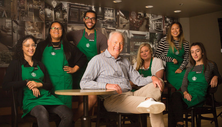 Kevin Johnson with Starbucks partners